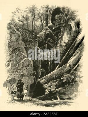 "'Ice Glen, Stockbridge', 1874. Artist sketching in a ravine near Stockbridge, Massachusetts, USA. 'A mile or more from the village is found that wonder of Nature, the Ice Glen, which pierces the northern spur of Bear Mountain; and in its long and awsome corridors and crypts, formed by massive and gloomy rocks, and huge but prostrate trees, the explorer may find masses of ice in the heart and heat of midsummer. The passage of this glen, though not perilous, requires nerve and patience, and the cheer of glowing torches withal'. From ""Picturesque America; or, The Land We Live In, A Delineati - Stock Photo"