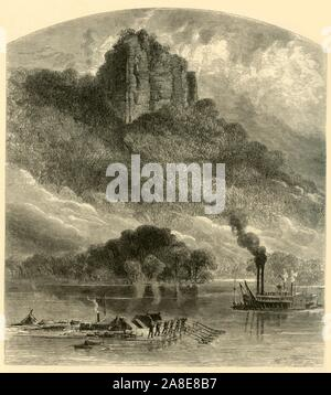 'Chimney Rock, near Fountain City', 1874. Rock formation on the River Mississippi in Wisconsin, USA. In the foreground men steer a large raft with oars - smoke issues from one of the timber buildings on the raft. On the right is a paddle steamer. 'The spectator who views this peculiar mass of limestone from above the river will fail to see why it received its name. But, from below, and passing abreast, one observes that the extreme mass on the right hand is altogether detached, and presents a very striking resemblance to the enormous stone chimneys which are built up outside the houses in Virg