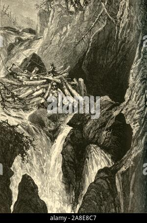 'Clearing a Jam, Great Falls of the Ausable', 1874. Loggers trying to shift cut tree trunks in the Ausable Chasm near Keeseville, New York State, USA. '...the Great Falls, one hundred and fifty feet high, surrounded by the wildest scenery. Below this the stream grows narrower and deeper, and rushes rapidly through the chasm, where, at the narrowest point, a wedged bowlder cramps the channel to the width of five or six feet. From the main stream branches run at right angles through fissures, down one of which, between almost perpendicular rocks a hundred feet high, hangs an equally steep stairw - Stock Photo