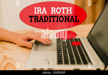 Handwriting text Ira Roth Traditional. Conceptual photo are tax deductible on both state and federal - Stock Photo