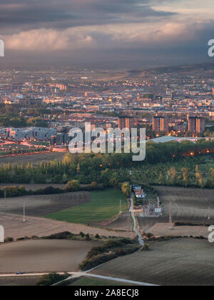 Time-blended view over Vitoria-Gasteiz, Basque Country, Spain, as seen from peak Olarizu