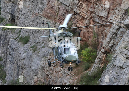 Czech Air Force Search and Rescue System's W-3A SOKOL, multipurpose two-engine turbo-shaft rescue helicopter at Big America, Czech Grand Canyon, aband - Stock Photo