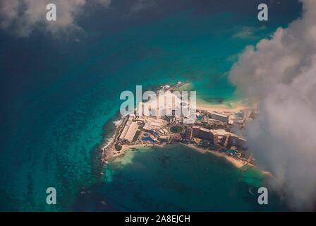 The resort of Cancun from the air - Stock Photo