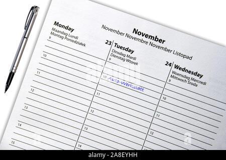 Termineintrag im Kalender, Tagebuch, Kalender, Terminkalender, Besuch, Termin, Uhrzeit, buchen, Besuch, Symbolbild, - Stock Photo