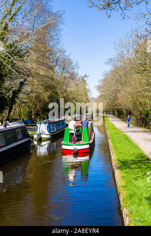 Aerial, overhead view of Narrow boats, canal boats heading down to the famous Pontcysyllte Aqueduct, Trevor Basin, Wrexham, Wales on a beautiful day - Stock Photo