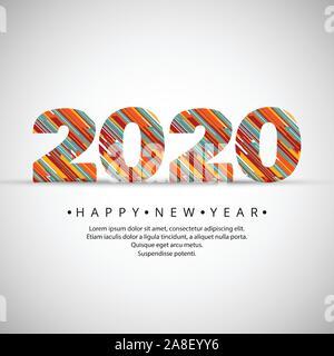 Happy New Year 2020, 2020 wishes, Happy New Year 2020, Celebrating 2020, calendar, Vector illustration - Stock Photo