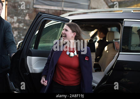 Auchtermuchty, UK. 8th Nov, 2019. Pictured: Jo Swinson MP - Leader of the UK Liberal Democrat Party. Liberal Democrat Leader Jo Swinson visits North East Fife as part of her Leader's Tour of the UK, as she makes the case to remain voters in Scotland to back the Liberal Democrats to protect Scotland's place at the heart of the EU. Credit: Colin Fisher/Alamy Live News - Stock Photo