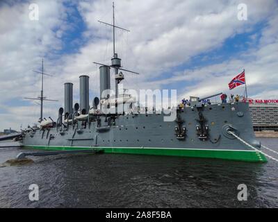 Saint Petersburg/Russia; May 14 2017: Aurora protected cruiser, pallada class cruiser, museum ship, in Neva river, Saint Petersburg, Russia - Stock Photo