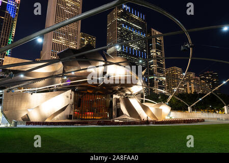Jay Pritzker Pavilion is located within Millennium Park in downtown Chicago. The location is open to the public and features theater and musical acts. - Stock Photo