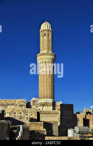 The vintage minaret in Sana'a, Yemen - Stock Photo