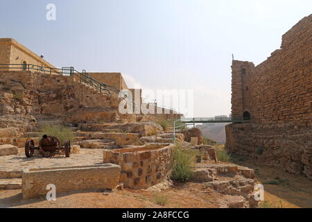 Dry moat and North Wall, Karak Castle, Al Karak, Karak Governorate, Jordan, Middle East - Stock Photo