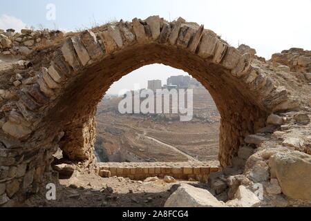 View from East Wall, Karak Castle, Al Karak, Karak Governorate, Jordan, Middle East - Stock Photo