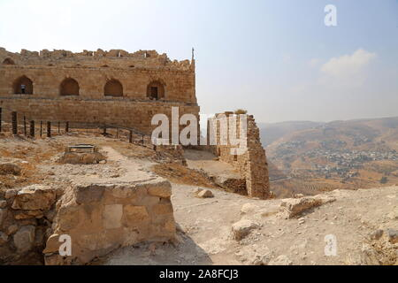 Mamluk Keep and West Wall, Karak Castle, Al Karak, Karak Governorate, Jordan, Middle East - Stock Photo