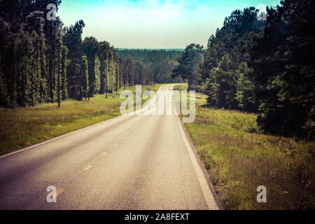 An outstretching empty asphalt highway cutting through a pine tree forest in rural Southern Mississippi, USA