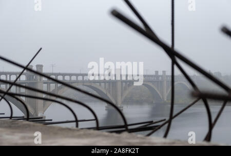 bridge construction on the background of the old bridge in Europe. reinforcement blurred - Stock Photo