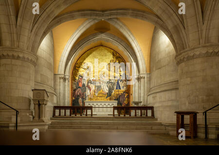 Washington, DC - 4 November 2019: Painting of Jesus above the altar in the crypt chapel of St Joseph of Arimathea - Stock Photo