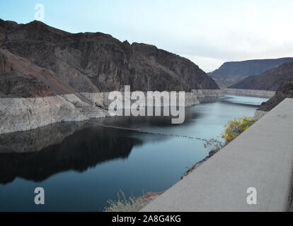 Spring in Nevada: Early Morning View of Lake Mead in the Black Canyon on the Colorado River Just Upstream of the Hoover Dam - Stock Photo