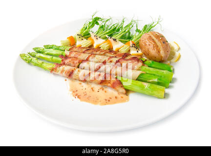 Bacon wrapped asparagus grilled with sasemi sauce and pea sprouts roll in chili  salad black sasemi decorate bake potato chedda cheese side view isola - Stock Photo