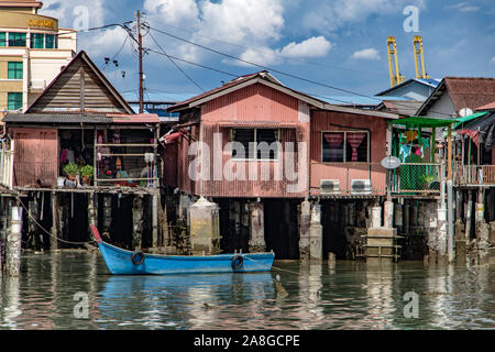 PENANG, MALAYSIA, NOV 12 2017, Traditional wooden houses on pilots stand over the sea, Clan Jetties of George Town, Penang, Malaysia. - Stock Photo