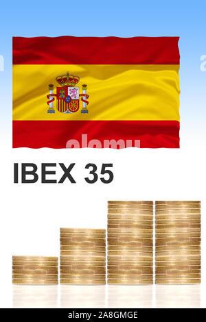 IBEX 35, Aktieninder der 35 grössten spanischen Unternehmen, Kursindex, Börse, Madrid, Spanien, Kapital, Marktkapitalisierung, - Stock Photo