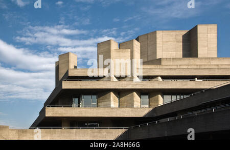 London, United Kingdom - February 17, 2007: Royal National theatre (designed by Sir Denys Lasdun) as seen from Waterloo Bridge. Example of Brutalist a - Stock Photo