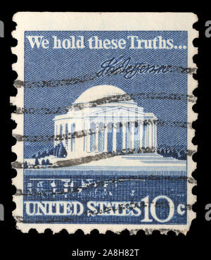 Stamp printed in USA shows Thomas Jefferson Memorial and Signature, circa 1973 - Stock Photo