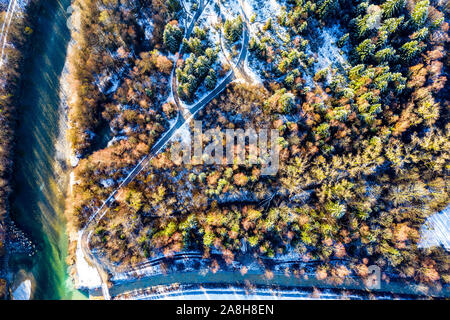 Aerial Drone Photography of a River and Forest in Winter Bavaria Isar Brauneck Alps - Stock Photo
