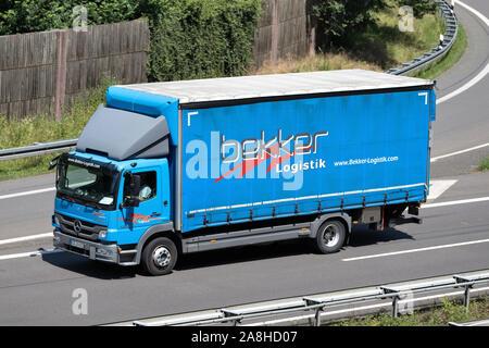 Bekker Mercedes-Benz Atego truck on motorway. - Stock Photo
