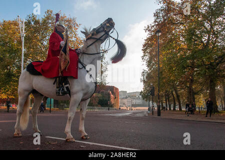 A braying white horse, with horseguard standing on The Mall with Horseguard's Parade in the background - Stock Photo