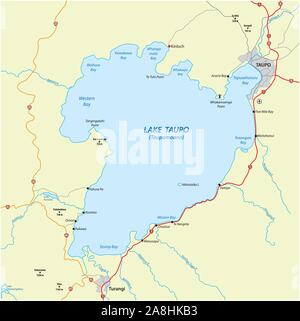 Map of Lake Taupo on the North Island of New Zealand - Stock Photo