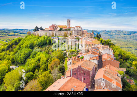 Croatia, Istria, aerial view of the old town of Motovun - Stock Photo