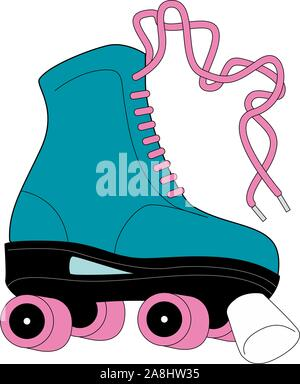 Retro quad roller skates, hand drawn illustration isolated on white background. Realistic hand drawn, sketch style pair of colorful quad roller skates - Stock Photo