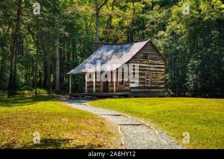 Carter Shields Cabin in Cades Cove in the Great Smoky Mountains National Park in Tennessee in the United States - Stock Photo