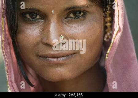 Pahalgam, Jammu and Kashmir, India - August 02, 2011: Beautiful Rajasthani woman sweating in a warm day - Stock Photo