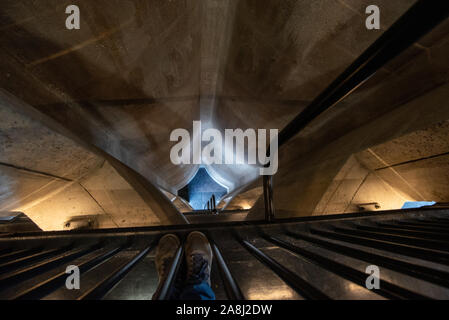Looking down a shaft or atrium from a high level balcony in the Zeitz MOCCA museum of Contemporary Art Africa in Cape Town, South Africa - Stock Photo