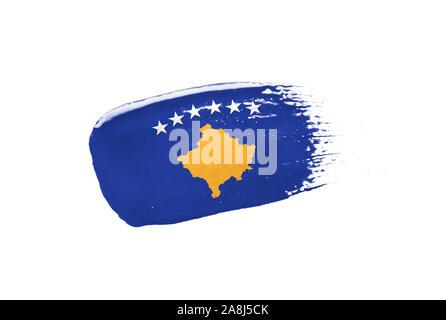 Brush painted Kosovo flag. Hand drawn style - Stock Photo