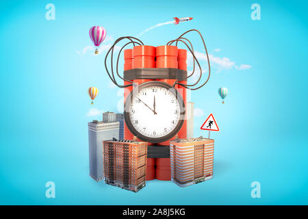 3d rendering of red dynamite stick time bomb with city skyscrapers and hot air balloons on blue background - Stock Photo