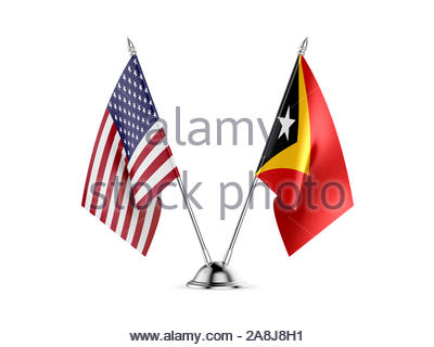 Desk flags, United States  America  and East Timor, isolated on white background. 3d image-Recovered - Stock Photo