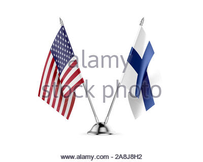 Desk flags, United States  America  and Finland, isolated on white background. 3d image - Stock Photo