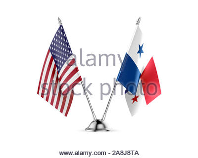 Desk flags, United States  America  and Panama, isolated on white background. 3d image - Stock Photo
