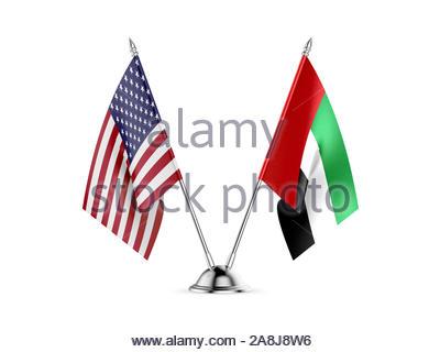 Desk flags, United States  America  and United Arab Emirates, isolated on white background. 3d image - Stock Photo