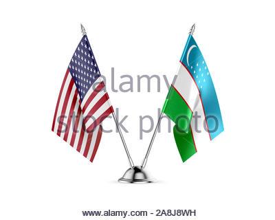 Desk flags, United States  America  and Uzbekistan, isolated on white background. 3d image - Stock Photo