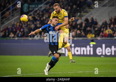 Verona, Italy. 9th Nov, 2019. Lautaro Martinez of FC Internazionale during the Serie A match between Inter Milan and Hellas Verona at Stadio San Siro, Milan, Italy on 9 November 2019. Photo by Mattia Ozbot. Credit: UK Sports Pics Ltd/Alamy Live News - Stock Photo