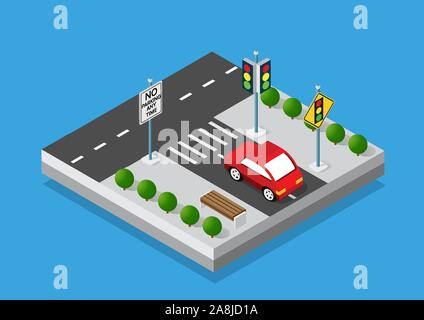 Isometric set cars and trucks transport - Stock Photo