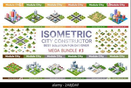 set of blocks module of areas - Stock Photo