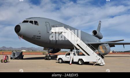 Tucson, AZ, USA - March 23, 2019:  A U.S. Air Force KC-10 Extender refueler on the runway at Davis-Monthan Air Force Base. - Stock Photo