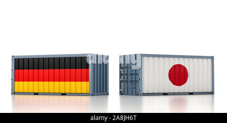Two freight container with Germany and Japan flag. 3D Rendering - Stock Photo