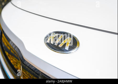 Berlin, Germany - November 8, 2019: Logo of a car brand on the white paint of a bonnet. - Stock Photo