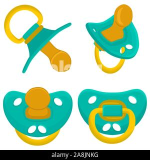 Illustration on theme big colored set baby pacifiers, dummy with rubber nipple. Baby pacifiers consisting of collection to newborn, good dummy nipple. - Stock Photo