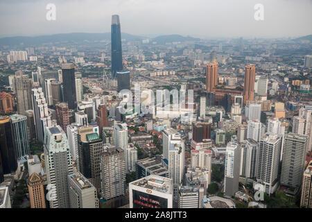 KUALA LUMPUR / MALAYSIA - May 16, 2019: Cityscape view of downtown Kuala Lumpur as seen from Kuala Lumpur tower in Malaysia. - Stock Photo